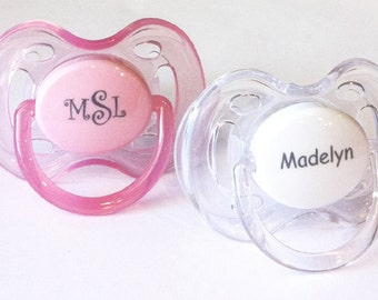 Personalized Pacifiers Two Monogram Pacifiers Baby Girl Gift Baby Personalized Pacifier Monogram Pacifier AVENT Personalized Pacifiers 0-6m