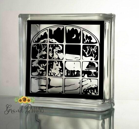 Winter Scene Decal Christmas Decals For Glass Blocks Vinyl - Glass block vinyl decals