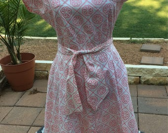 Vintage 1950s Cotton Wrap Dress, Pink and White, Lily Claire