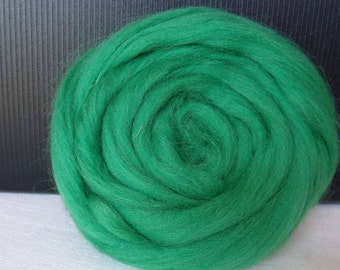 25g wool felting or spinning Merino carded worsted grass green color