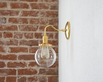 Gold Brass Wall Sconce Clear 6in. Globe Vanity Century Industrial Modern Art Light UL Listed