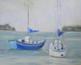 SALE PRICE Original Plein Air Oil Painting Sailboats Sarasota Bay