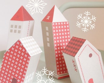 DIY christmas ornaments, paper christmas houses, instant download