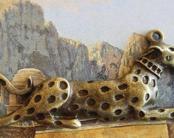 2 large antique bronze pendants snow leopard charms jewelry making supply animal pendants 20mm x 64mm B4036