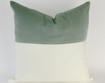 Colorblock Velvet and White Canvas Decorative Throw Pillow Cover- Invisible Zipper Closure