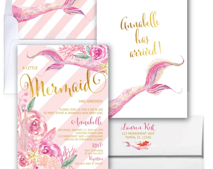 Mermaid Sip and See Invitation // Under the Sea Invitation // Watercolor // Gold // Floral // Sip & See // Pink // QUEENSLAND COLLECTION