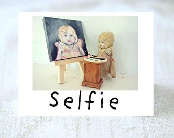 Selfie Humor Card Adventures Claudia Porcelain Doll In Box Funny Silly Stationary (1)