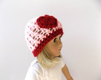 Knit Doll Hat - Doll Accessories - Valentine's Day - 18 Inch Doll