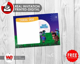 Super Monsters thank you card, Super Monsters party, Super Monsters invite, Super Monsters birthday