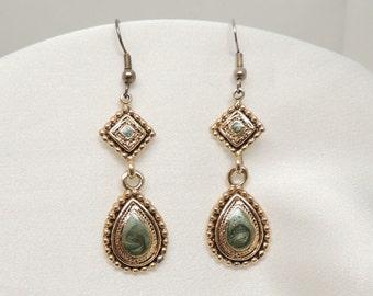Vintage Green and Gold Enamel Earrings