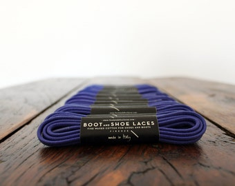 Dark Purple Shoe Laces - Fine waxed cotton laces for boots and shoes. Round colored shoelaces. Made in Italy.