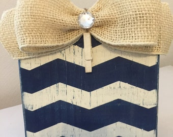 Navy and Antique White Chevron Distressed Painted Wood Block Frame with Burlap Bow and Clothespin Holder