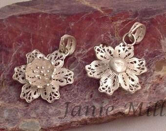 Sterling Silver Filigree Flower 19mm