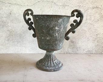Vintage Metal Trophy Centerpiece Planter, Old World Decor, Rustic Decor, Patio Garden Jardiniere