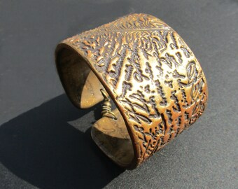 Polymer clay Cuff Bracelet. Polymer clay bracelet. Bronze and black Cuff Bracelet.
