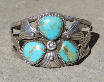 Native American Turquoise Jewelry, Vintage Navajo Turquoise Bracelet, Turquoise Cuff, Old Pawn Turquoise, Turquoise and Silver Bracelet,