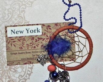 New York Dream Catcher Car Charm Dazzler - Orange and Blue - Empire State Building, Statue of Liberty, Rose, Apple, Bluejay, New York, Love