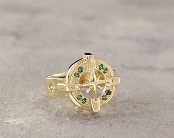 Gold compass ring Etsy