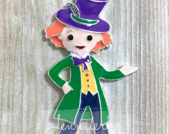 Mad Hatter Pendant, Enamel Pendant, Alice in Wonderland, DIY Necklace, Mad Hatter Necklace, Chunky Necklace Pendants