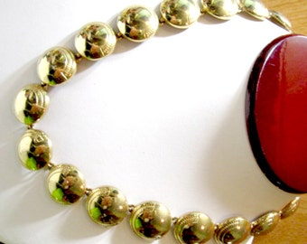 Monet Necklace 1980's Designer Domed Disks Gold Tone Plated Metal w Mirror Finish Half Etched