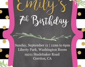 Stripes and Floral birthday invite