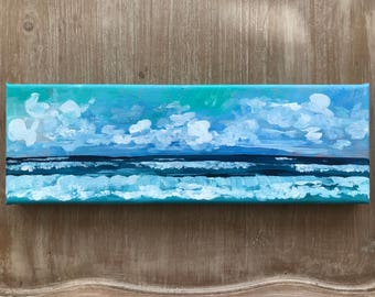 Breakers | Acrylic Seascape with teal waters and blue skies