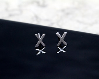 Sterling Silver 925 Initial Stud Earrings Small Letter X Stud Earrings Letter Earrings, Alphabet Earrings