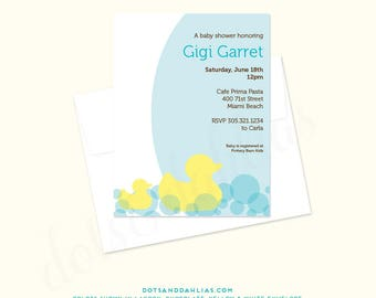 Rubber Duck Baby Shower Invitation, Sprinkle Invite, Girl, Boy, Gender Neutral, Printed or Printable