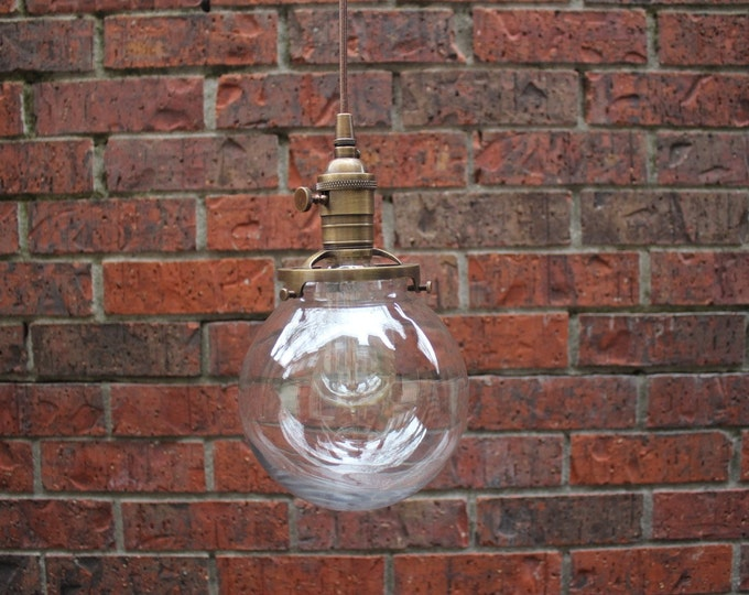 """Pendant Lighting Antique Brass Finish - 6"""" Clear Glass Globe - Cloth Wire - Plug In or Ceiling Canopy Mount"""