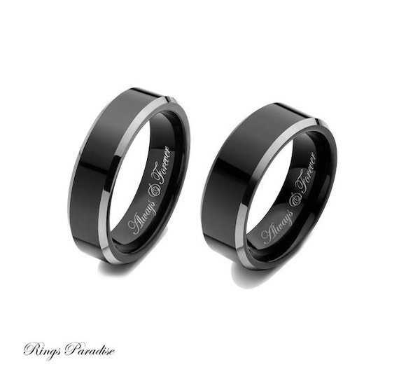 Wedding Band Sets Black Tungsten Engagement Rings Tungsten