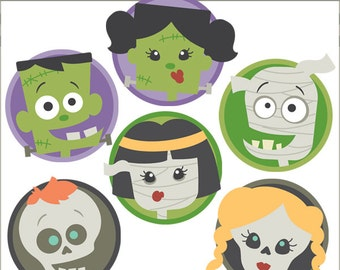 Halloween Clipart Monster Faces -Personal and Limited Commercial Use- Mummy, Frankenstein, Skeleton Clip Art