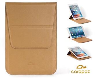 iPad Mini Case Leather - iPad Mini Pouch - iPad Mini Cover - iPad Mini Sleeve - Stand Function - Grained Leather - CAMEL