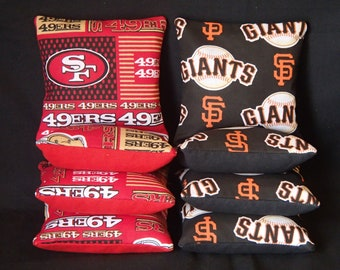 Set Of 8 San Francisco 49ers / Giants Cornhole Bean Bags FREE SHIPPING