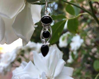 Black Onyx Earrings, Long Sterling Silver Earrings, Artisan Silver Earrings, Dangle Earrings