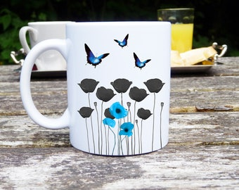 Mug and customizable poppy and Butterfly blue, ceramic, classic or magical personalized cups