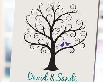 Wedding Fingerprint Tree - 11x14 - Thumbprint Wedding Tree - NB - Guest Book, Wedding Guestbook