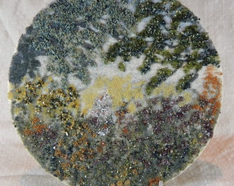 """Cottage Garden, no. 2, original sand painting 7"""" circle sand art painting flowers cottage decor cabin decor summer vacation colorful"""