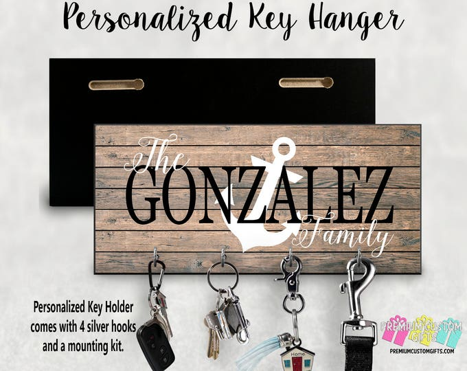 Family Name with Anchor Wall Key Hanger - Personalized Key Holder - Made Of MDF Wall Key Hanger - Housewarming - Wedding Gift - Wall Mount