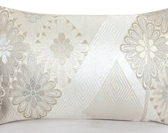 Spring Collection of Luxury Ivory Silver Silk Decorative Pillow Cushions in a Geometric & Diamond Floral Design made from fine Japanese Obi