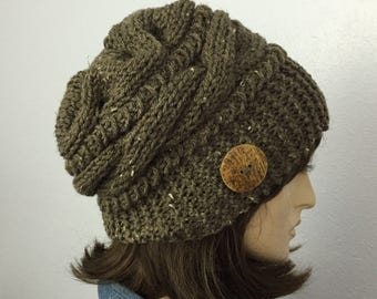 Women Knit Hat with Button Winter Women Hat Women Accessories
