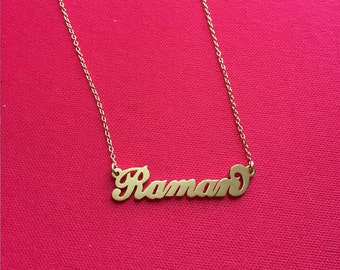 Carrie Style necklace Gold plate name necklace Sterling silver necklace