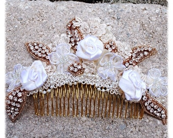 Ivory Beige Crystal Rose Gold Hand Sewn Venice Lace Beaded Wedding Bride Dancer Hairpiece Comb