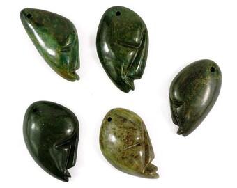 5 Shona Pendants Verdite Stone Abstract Faces Zimbabwe Africa 101889