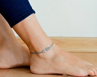 Pineapple anklet, dainty gray cord anklet with silver Pineapple charm, ankle bracelet, gift for her, minimalist fruit jewelry, beach, summer