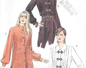 Size 14 to 18 UNCUT-Vogue 9163 Tuck Front Blouse and Stand Up Collar Tunic Vintage Sewing Pattern Bust 36 to 40