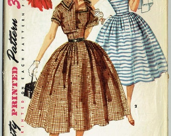 Vintage Sewing Pattern Simplicity 1056 Misses' Dress & Bolero 1950s 32 Bust - With FREE Pattern Grading E-Book Included