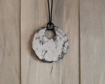 Pendant green raku ceramic white shape round