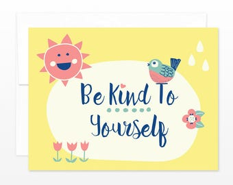 Sunshine Friend Card - Be Kind To Yourself - Sunny Yellow  Friendship, Encouragement, Thinking of You Card - Self Care Card