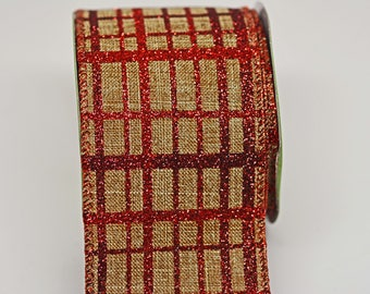 BULK Red Glitter Plaid Burlap Ribbon -- 5 yards - 1 1/2 Inch -- Red Brown Holiday Christmas