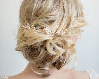 Wedding Hair Vine,  Gold Bridal Headpiece, Bridal Hair Accessory, Pearl Hair Vine, Silver Bridal Hairpiece